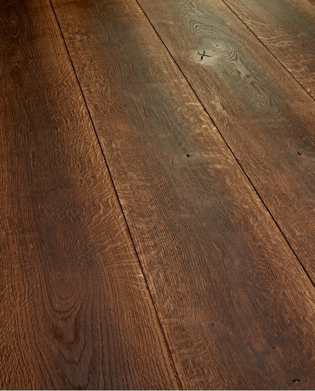 Plancher Vieilli Chêne Semi-Massif C23 15/4x180 mm Huilé Brossé Brûlé