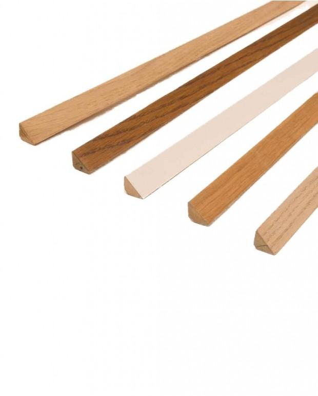 Contre-plinthes Triangle MDF Revêtu Blanc 14x14x2230 mm