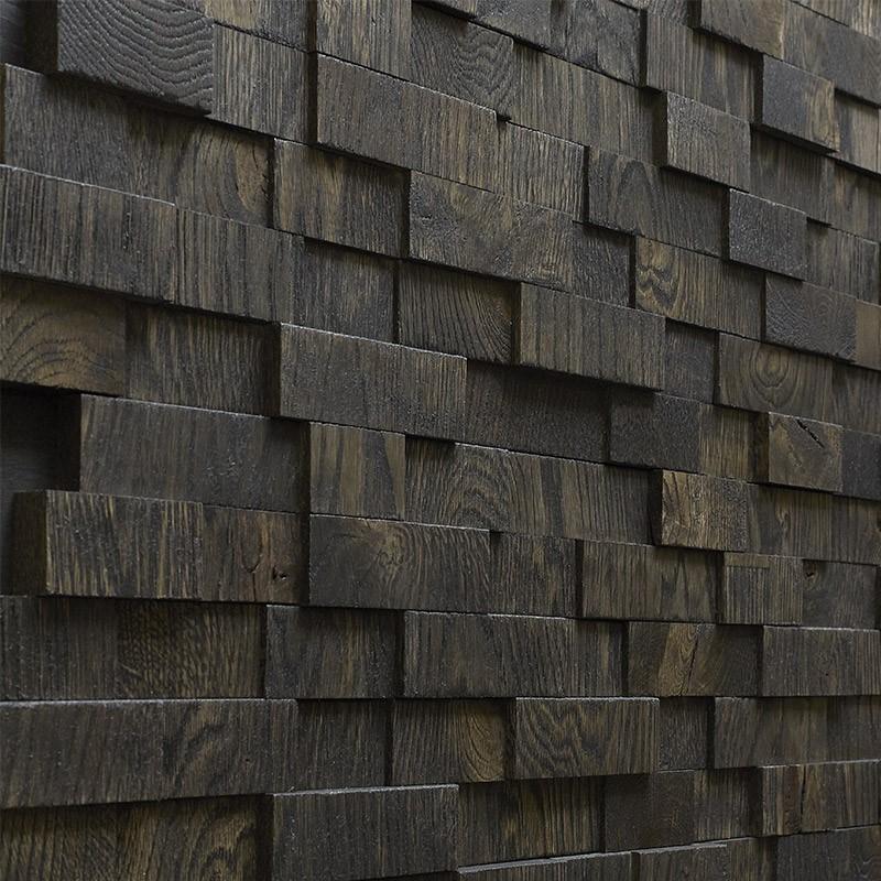 Panneau Mural Chêne 3D Noir 20/30x200x1000 mm Huilé
