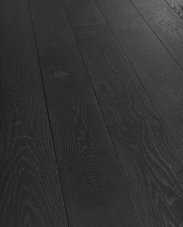 Parquet Chêne Massif Noir Intense 20x140 mm Brossé Huilé